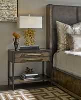 Palms Nightstand shown with:Saddle finishContrast frame in Dark Bay finishCombination Bronzed Brass/Satin Brass hardware