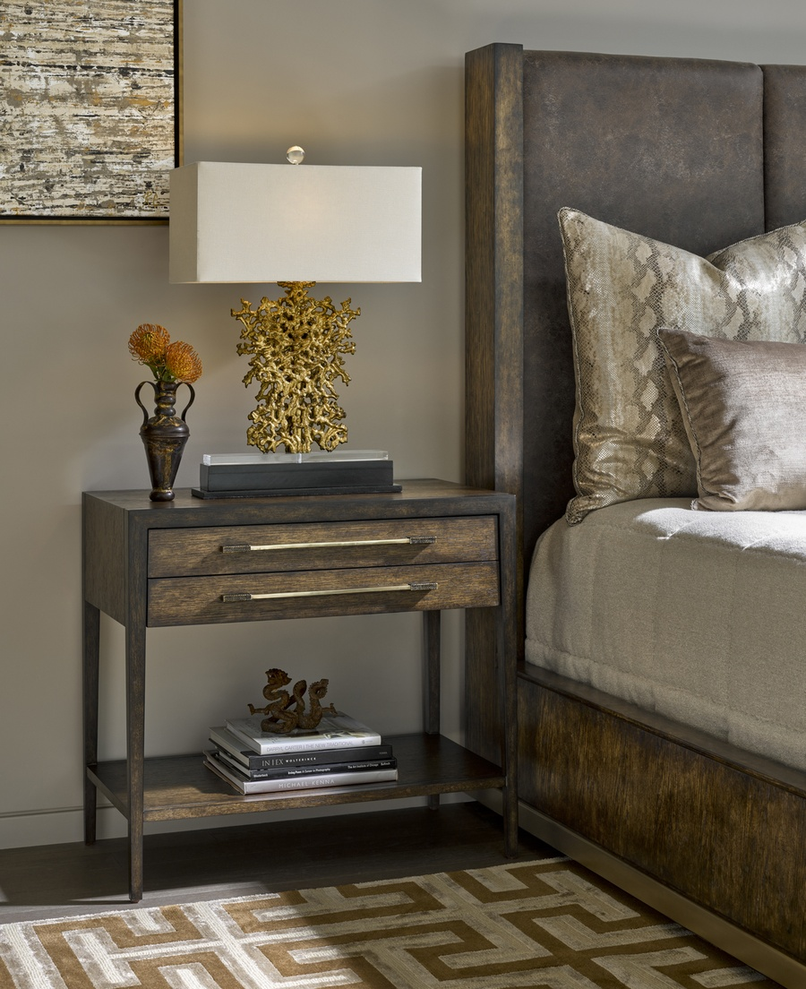 Palms Nightstand shown with:Saddle finishContrast frame in Dark Bay finishBronzed Brass hardware