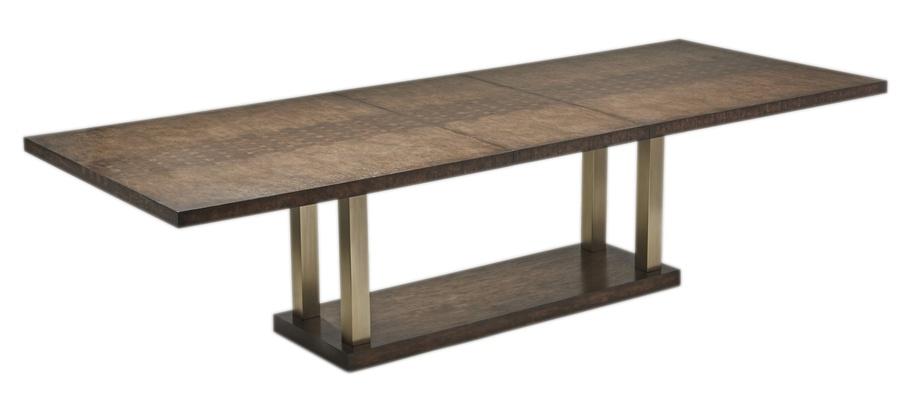Palms Dining Table shown with:SaddlefinishSatin Brass legs
