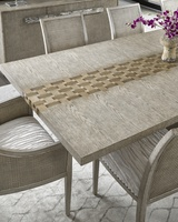 "Palms Dining Table shown with:26"" leafDapple finishStainless Steel legs"