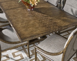 "Palms Dining Table shown with:26"" leafSaddle finishSatin Brass legs"