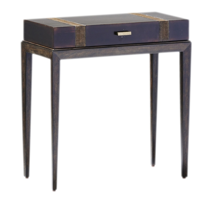 Palms Chairside Table shown with:Bronzed Brass Leaf finish on topDark Bay finish on baseRaffia Accents in Dark Bay finishDecorative hardware in Satin Brass finish