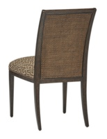 Palms Side Chair shown with:Tight SeatFrame and Raffia back in Dark Bay finish withEbony Paint finish trimSpaced Mottled nailhead frame trim over tape