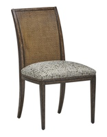 Palms Side Chair shown with:Tight SeatFrame and Raffia back in Saddle finish withDark Bay finish trimSpaced Mottled nailhead frame trim over tape