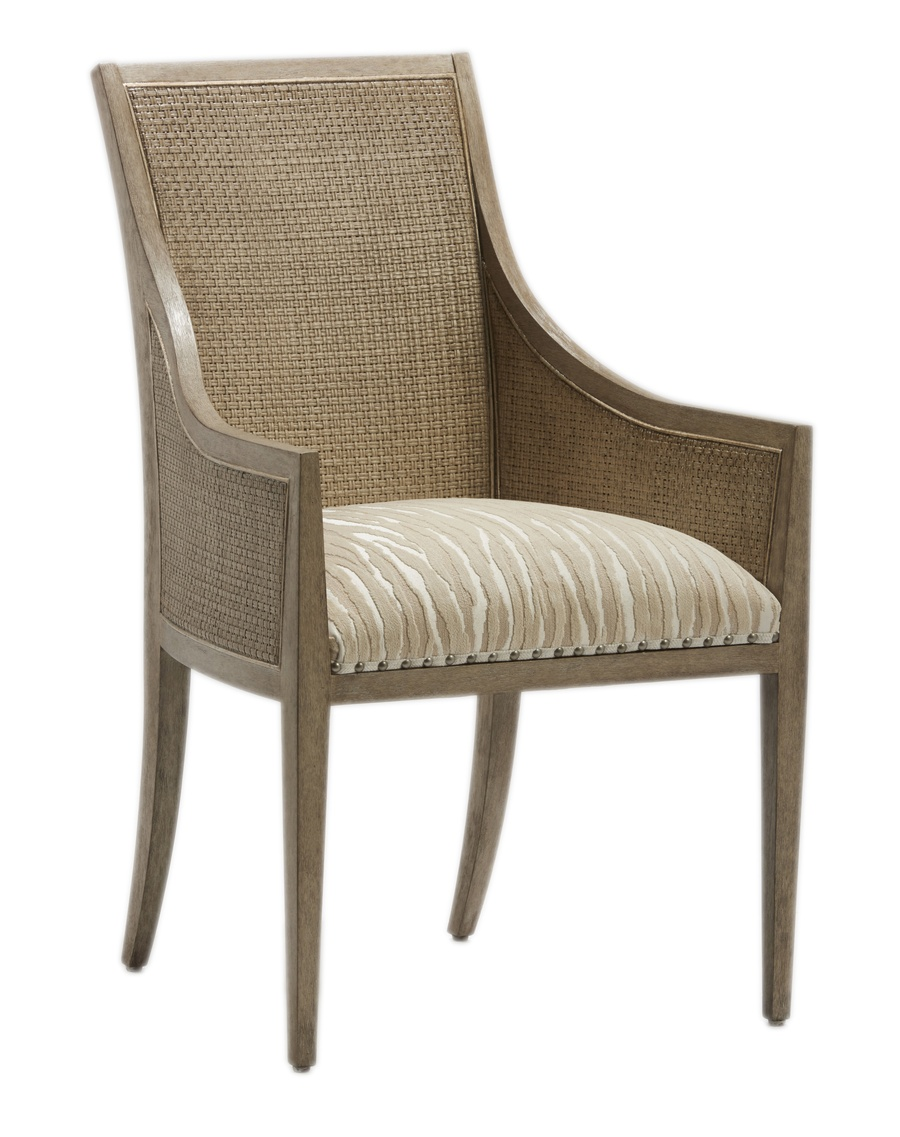 Palms Arm Chairshown with:Tight SeatFrame and Raffia back in Dapple finish withSilver Cloud Leaffinish trimSpaced Pewter nailhead frame trim over tape