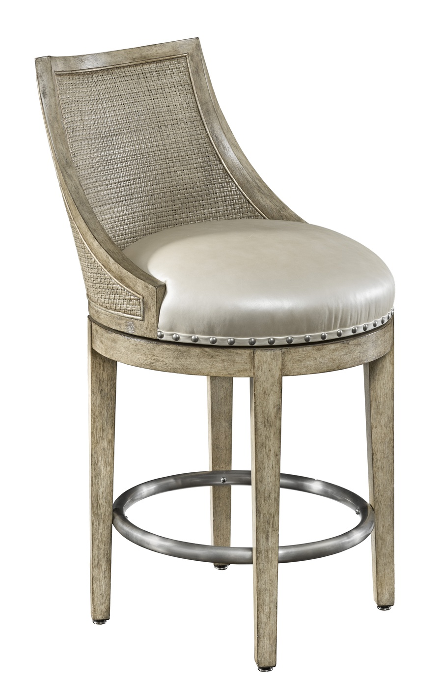 Palms Counter Stoolshown with:Tight SeatFrame and Raffia back in Dapple finish withSilver Cloud Leaffinish trimSpaced Pewter nailhead frame trim over tapeStainless Steel footrest