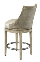 Palms Counter Stool shown with:Tight SeatFrame and Raffia back in Dapple finish withSilver Cloud Leaf finish trimSpaced Pewter nailhead frame trim over tapeStainless Steel footrest