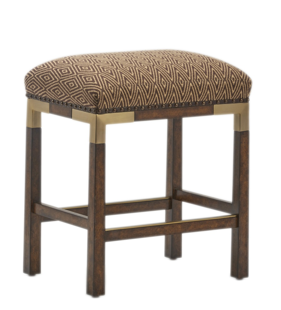 Palms Counter Stool shown with:Tight SeatSaddle finishSpaced Mottled nailhead frame trim over tapeSatin Brass accents and footrest