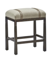 Palms Counter Stool shown with:Tight SeatDark Bay finishContrast strapMottled nailhead frame trimBronzed Brass accents and footrest