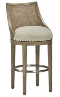 Palms Barstool shown with:Tight SeatFrame and Raffia back in Dapple finish withSilver Cloud Leaf finish trimSpaced Pewter nailhead frame trim over tapeStainless Steel footrest
