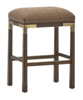Palms Barstool shown with:Tight SeatSaddle finishSpaced Mottled nailhead frame trim over tapeSatin Brass accents and footrest