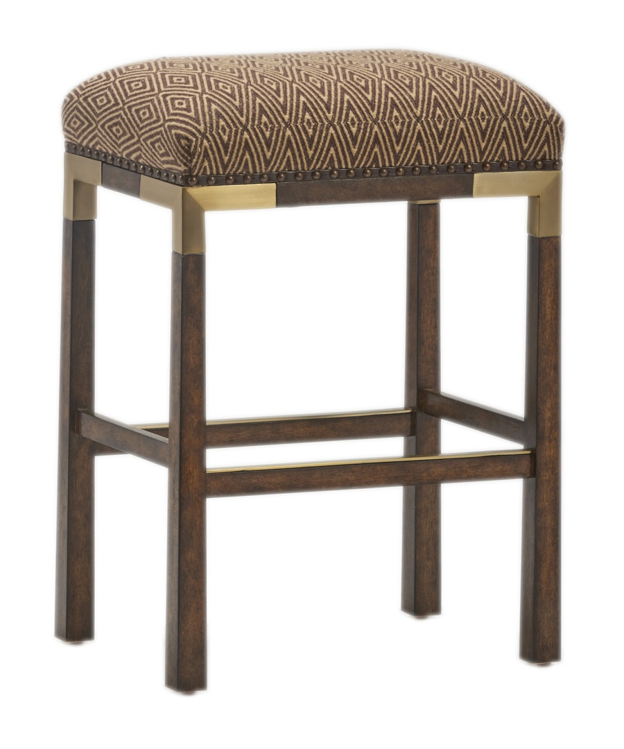 Palms Barstool shown with:Tight SeatDark Bay finishContrast strapMottled nailhead frame trimBronzed Brass accents and footrest