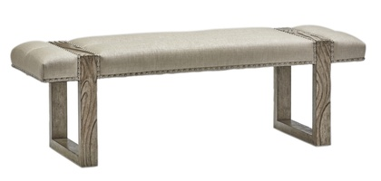 Palms Bench shown with:Tight SeatDapple finishSpaced Pewter nailhead frame trim over tape