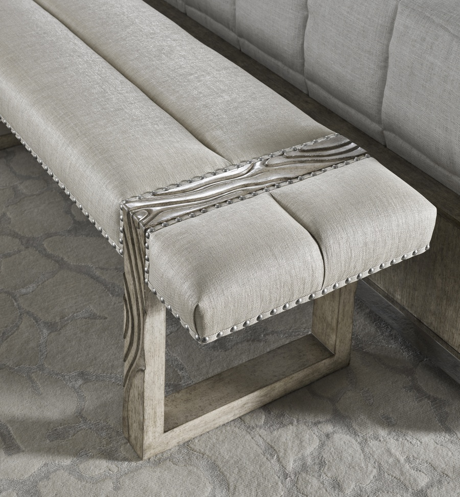 Palms Bench shown with:Tight SeatSaddle finishSpaced Mottled nailhead frame trim over tape