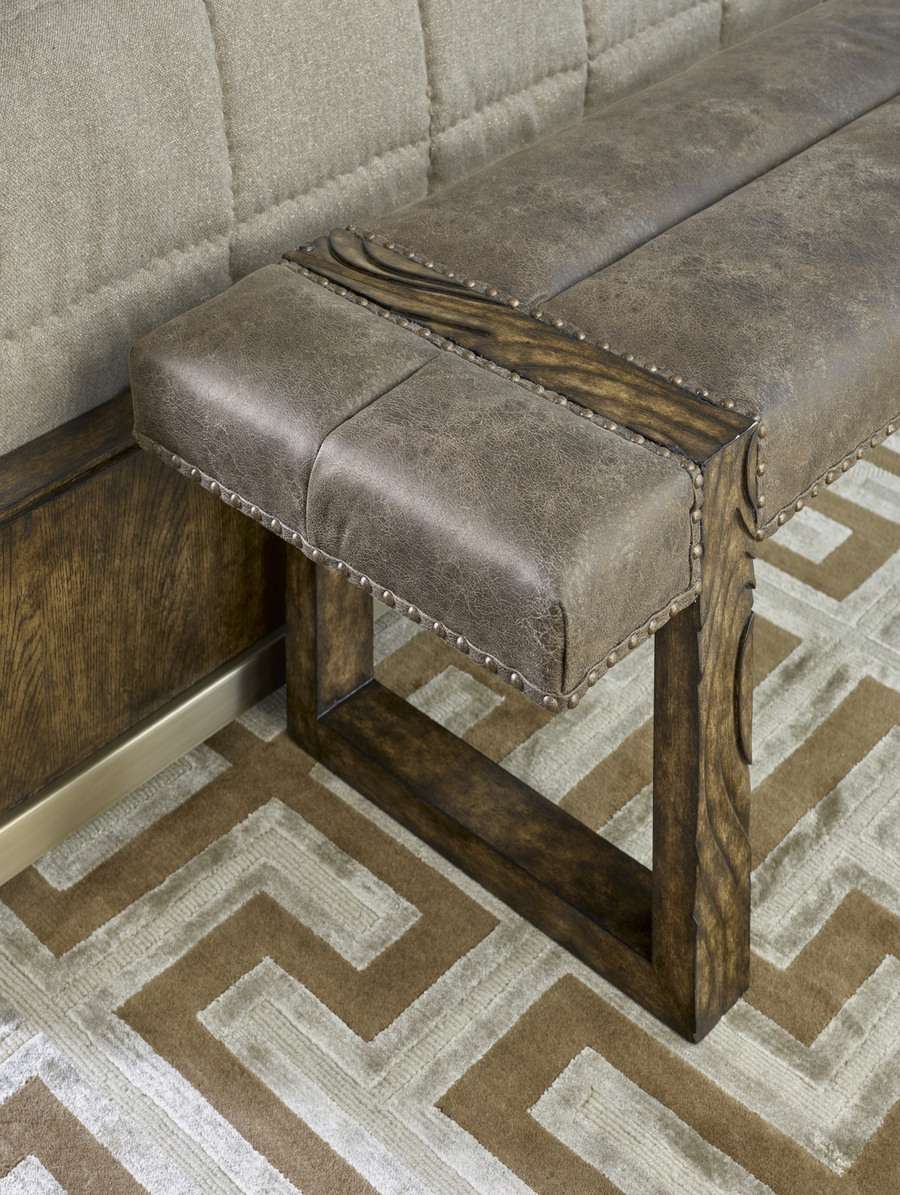 Palms Bench shown with:Tight SeatSaddlefinishSpaced Mottled nailhead frame trim over tape