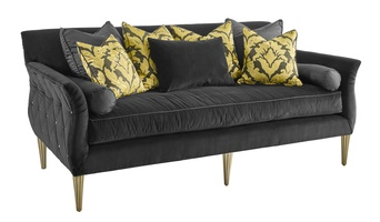 Paloma Sofa shown with:Boxed benchMerengue Button quilted outside backCashmere Silver finish on legs