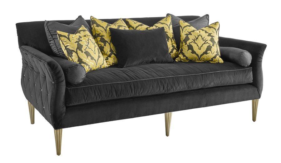 Paloma Sofa shown with:Boxed benchBrilliance Button quilted outside backCashmere Silver finish on legs