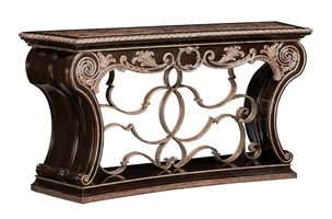 Piazza San Marco Console shown with:Old World Orleans finishVersailles Leaf finish trimDecorative metalwork in Aged Iron finish withVersailles Leaf finish trimPolished Madeira Marble top