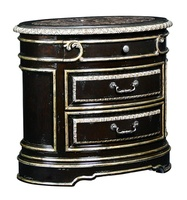 Piazza San Marco Nightstand shown with:Old World Sumatra finishAged Silver Leaf trimPolished Madeira Marble topAntique Nickel hardware