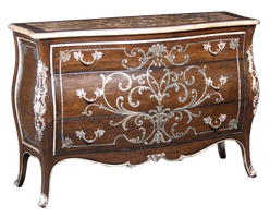 Piazza San Marco Chest shown with:Old World Orleans finishVersailles Leaf trimDecorative hand painted floral motif in Silver finishPolished Madeira Marble topAntique Nickel hardware