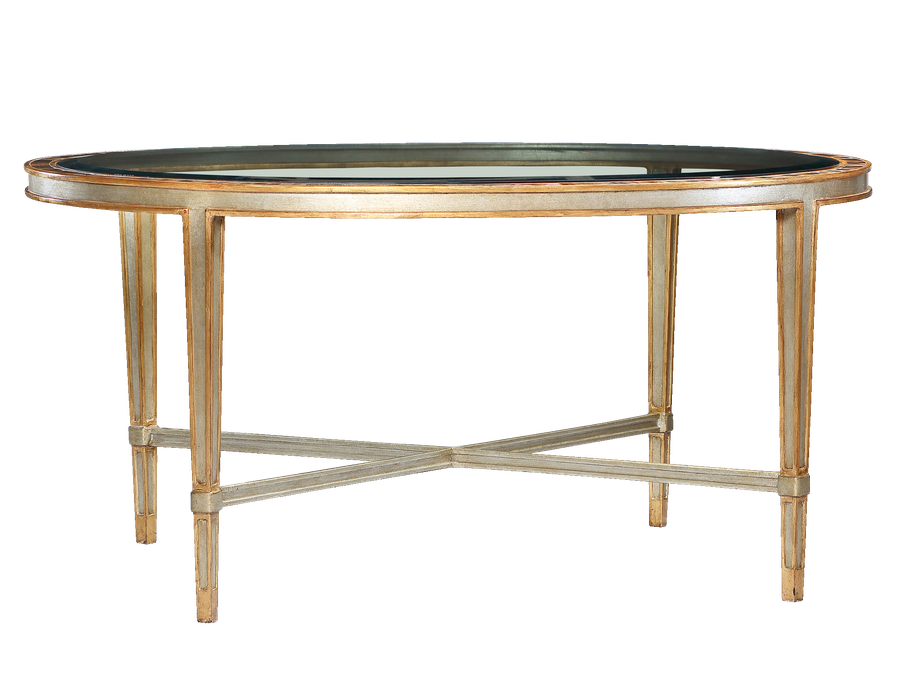Redondo Cocktail Table shown with:Deco SilverfinishVenetian GoldLeaf finishtrimInset clear glass top with beveled edgePolished Honeyshell inset top frame