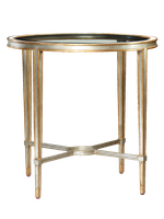 Redondo Round End Table shown with:Deco Silver finishVenetian Gold Leaf finish trimPolished Crystal Stone Beige inset top frame