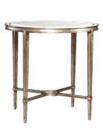 Redondo Round End Table shown with:Versailles finishPolished Crystal Stone Alabaster top and inset top frame