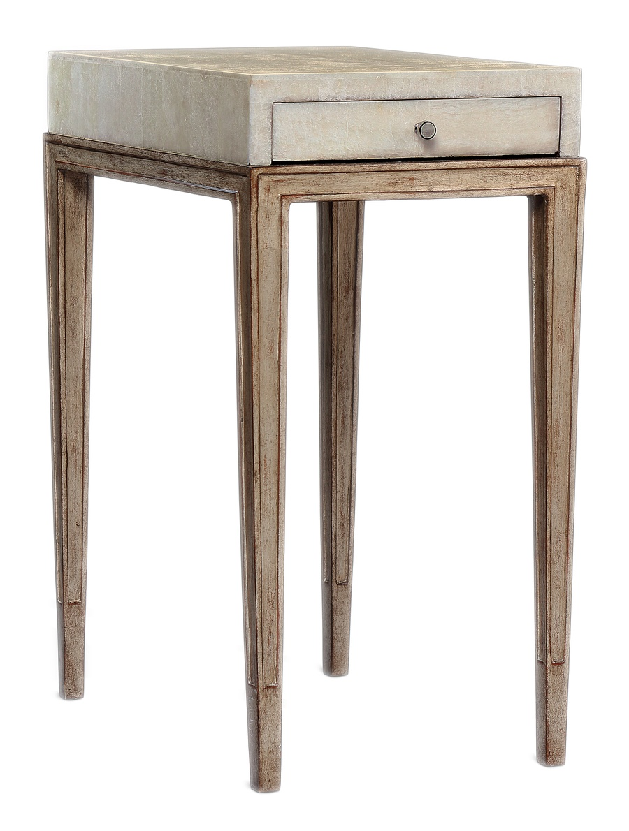 Redondo Chairside Table shown with:Deco Silver finishVenetian Gold Leaf finish trimPolished Silver Mosaic shell top Polished Nickel hardware
