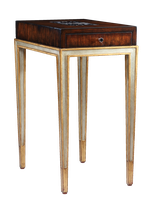 Redondo Chairside Table shown with:Deco Silver finish on base withVenetian Gold Leaf finish trimContemporary Havana finish on top withPolished Raven shell top insetPolished Nickel hardware
