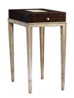 Redondo Chairside Table shown with:Silver Cloud finish on baseBombay finish on top withPolished Crystal Stone Taupe top insetPolished Nickel hardware