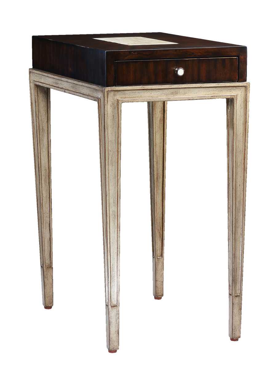 RedondoChairsideTable shown with:VersaillesfinishPolished Silver Mosaic shell top insetPolished Nickelhardware