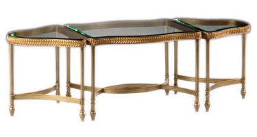 Rue Royale Bunching Cocktail Table shown with:MedicifinishMetal leaf finish trimInset clear glass top with beveled edge Available in a selection of finishes and finish trims