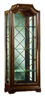 Rivoli Display Cabinet shown with:Noche finishVersailles Leaf finish trimDecorative metalwork in Versailles finishClear Mirror back