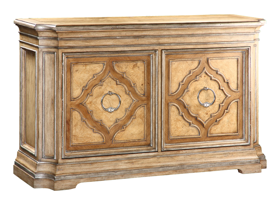 Rivoli Credenza shown with:Heirloom Desert finishAged Silver Cloud Leaf finish trimPolished Nickel hardware