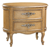 Rivoli Nightstand shown with:Heirloom Desert finishAged Silver Cloud Leaf finish trimPolished Nickel hardware