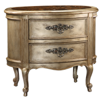 Rivoli Nightstand shown with:Silver Cloud finishPolished Madeira Marble topAntique Nickel hardware