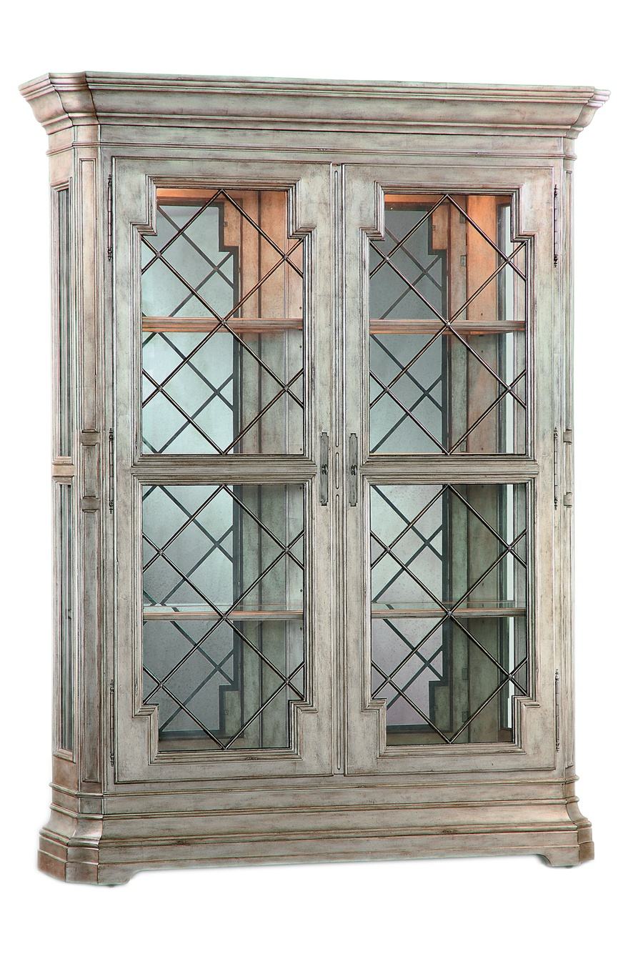 Rivoli Display Cabinet shown with:Silver Cloud finishDecorative metalwork in a signature metal finish withSilver Cloud Leaf finish trimAntique Mirror backAntique Nickel hardware