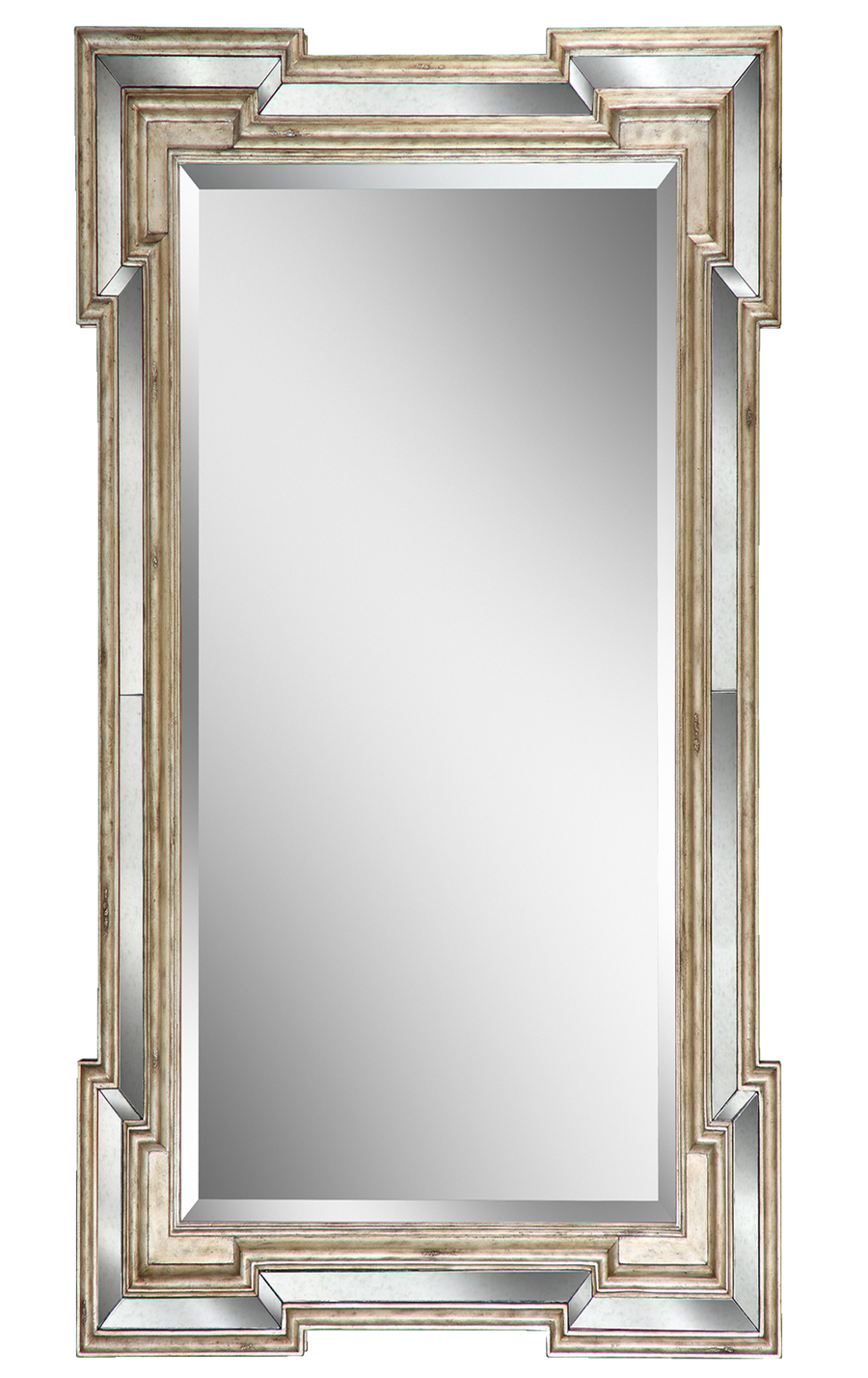 Rivoli Mirror shown with:Silver Cloud finishAntique Mirror panel insetClear mirror with beveled edge