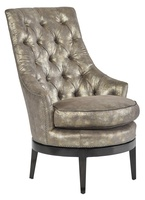 Sangria Chairshown with: Boxed cushion seatTufted back with Gunmetal buttonsExposed wood legs in Bombay finishGunmetal nailhead frame trim