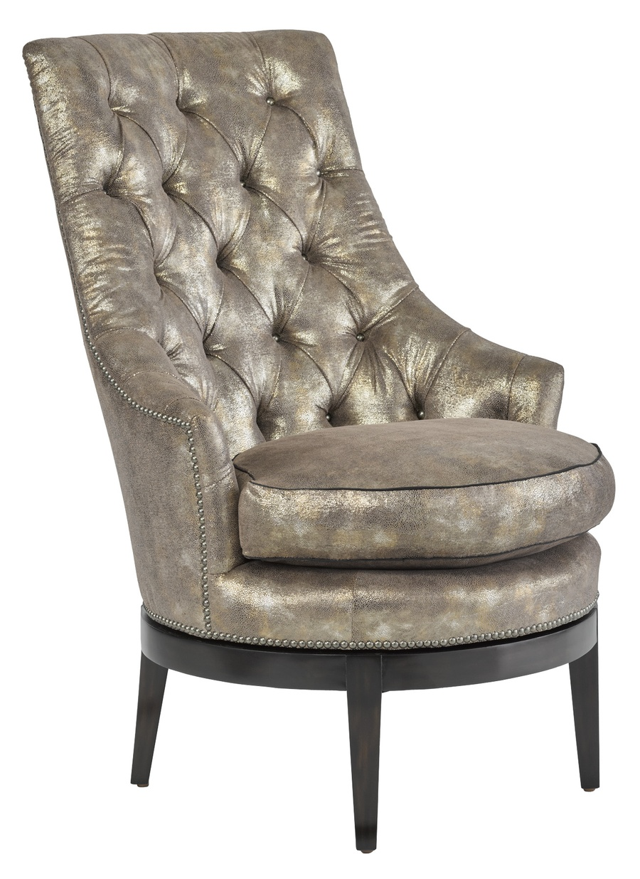 Sangria Chair shown with: Boxed cushion seatTufted back with Gunmetal buttonsExposed wood legs in Bombay finishGunmetal nailhead frame trim