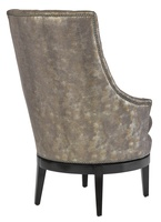 Sangria Chair shown with:Boxed cushion seatTufted back with Gunmetal buttonsExposed wood legs in Bombay finishGunmetal nailhead frame trim