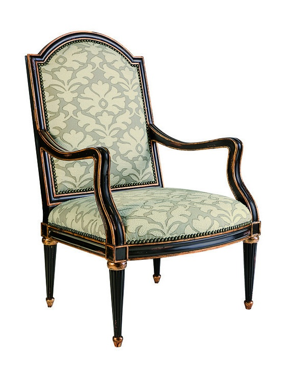 Savannah Chair shown with:Tight seat and backOld World Vintage Noir finishAged Gold Leaf finish trimBronze Star nailhead frame trim