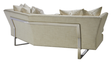 Seattle Sofa shown with:Boxed bench seatBuilt-to-the-floor with metal legs in Stainless Steel finishSilvernailhead frame trim spaced over fabric tape