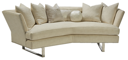 Seattle Sofa shown with: Boxed bench seatBuilt-to-the-floor with metal legs in Stainless Steel finishSilvernailhead frame trim spaced over fabric tape