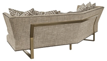 Seattle Sofa shown with:Boxed bench seatBuilt-to-the-floor with metal legs in Satin Brass finishAntique Brass nailhead frame trim spaced over fabric tape