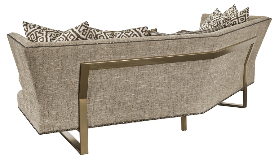 Seattle Sofa shown with: Boxed bench seatBuilt-to-the-floor with metal legs in Stainless Steel finishSilver nailhead frame trim spaced over fabric tape