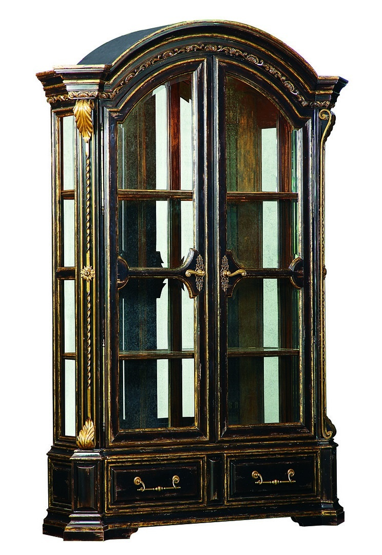 Charmant Seville Display Cabinet Shown With:Old World Vintage Noir FinishAged Gold  Leaf Finish TrimContrast Interior ...