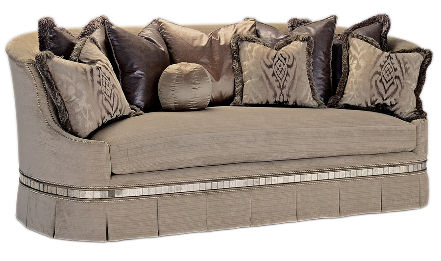 Serafina Sofa shown with:Boxed bench seatBox pleated deep skirtDouble beaded wood detail in Silver CloudfinishAntique Mirror panel insetsSilvernailhead frame trim