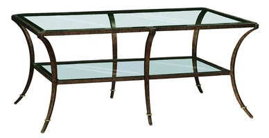 Sonoma Cocktail Table shown with:Bronze finish withBurnished Silver Leaf tirmInset clear glass top with beveled edge