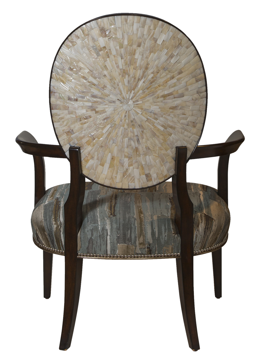 Sonoma Lounge Chair shown with:Tight seat and backContemporary Briar finish withVersailles Leaf finish trimOutside back with Sunburst Cherry VeneerSilver nailhead frame trim